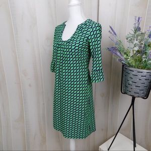Jude Connally Dresses - Jude Conally Green Patterned Long Sleeve Dress